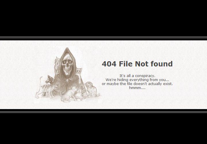 Мистическая страница Not Found