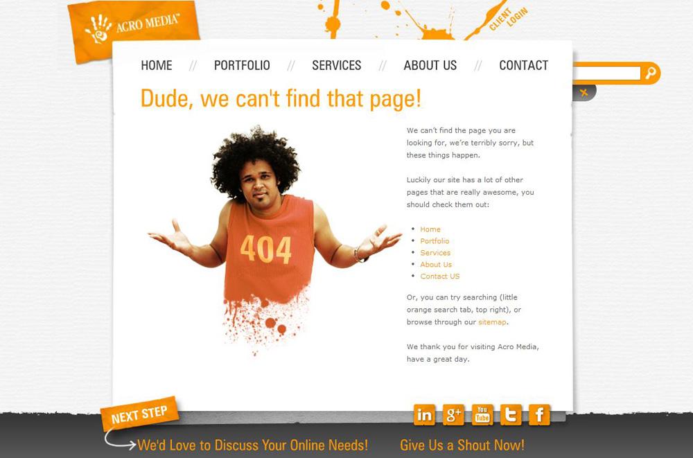 Предложение воспользоваться поиском, уведомить об ошибке, перейти на главную или любую другую страницу сайта