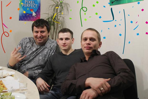 Три богатыря - дизайнер Андрей, менеджеры Станислав и Валерий